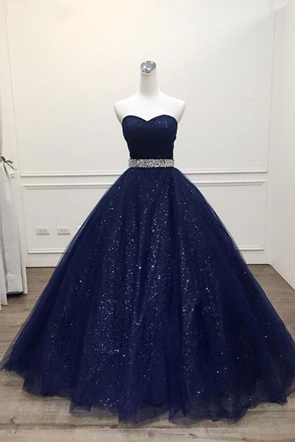 Dark Blue Tulle Long Prom Dress Blue Evening Dress Blue Evening Dresses Cute Prom Dresses Quincenera Dresses