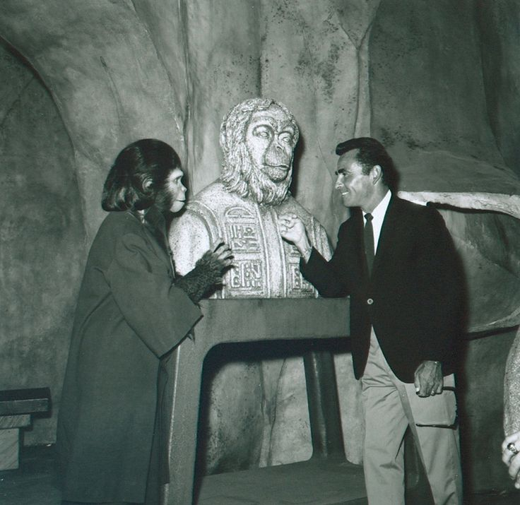 Kim Hunter as 'Zira' & Rod Serling on the set of Planet of the Apes (1968) — Serling co-wrote the screenplay with Michael Wilson, based on the 1963 French novel, La Planète des singes, by Pierre Boulle.