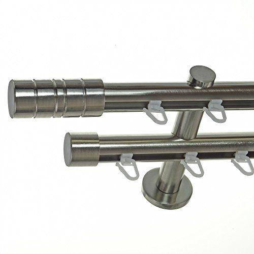 innenlauf gardinenstange edelstahl look 20mm wandträger 2-läufig
