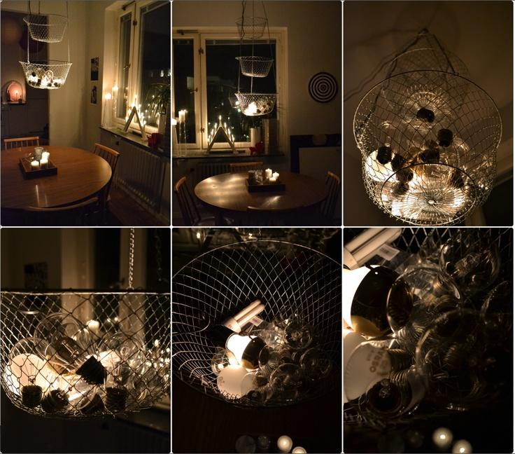 Johanna tipsar om en kreativ idé på sin blogg, http://leverne.nu/.  Hon skriver så här: i en liten lägenhet med dåligt med förvaring gäller det utnyttja det man har. Kombinerad taklampa och förvaring. De trasiga glödlamporna sprider ljuset helt fantastiskt och lösningen är enkel att göra själv.    Bidraget kom på en delad andra plats i vår tävling, stort grattis Johanna!