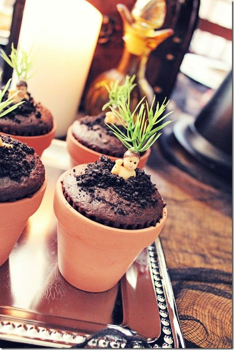 Bake Mandrake Cakes by baking chocolate cupcakes and placing them in mini pots…