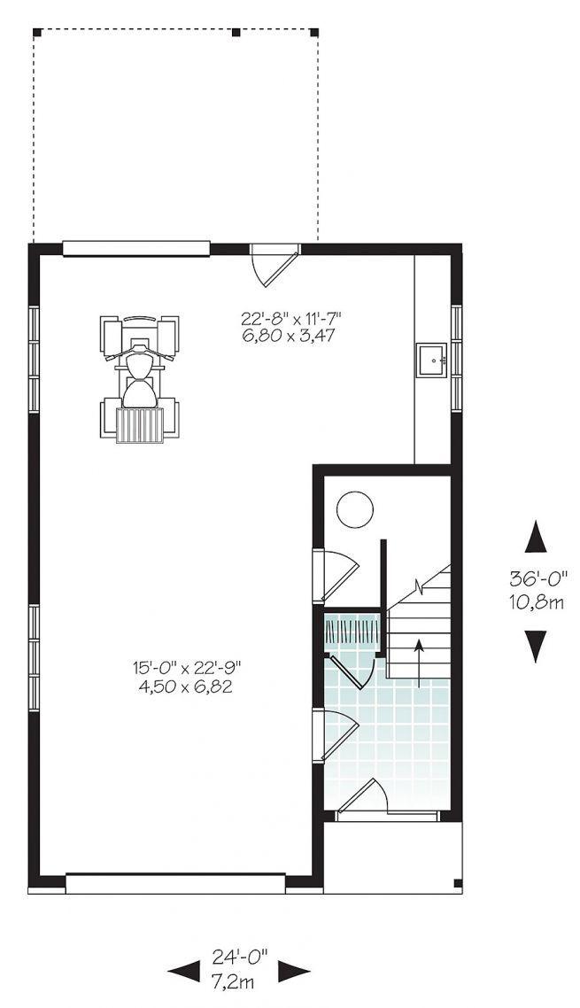 Plan de Rez-de-chaussée Garage avec logement à l'étage, style urbain, une chambre, grande terrasse et à aire ouverte - Ozias 3