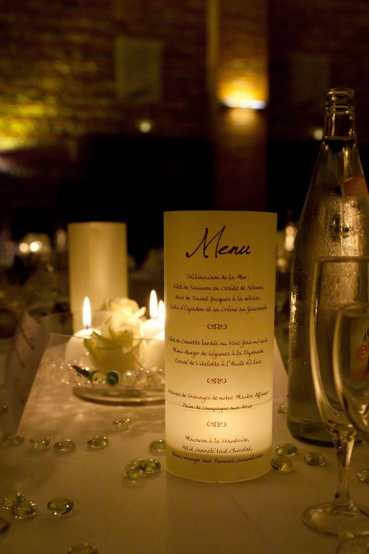 Mon mariage - menus photophores