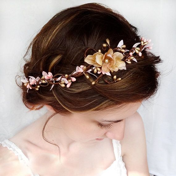 bridal headband pink and gold wedding hair by thehoneycomb on Etsy