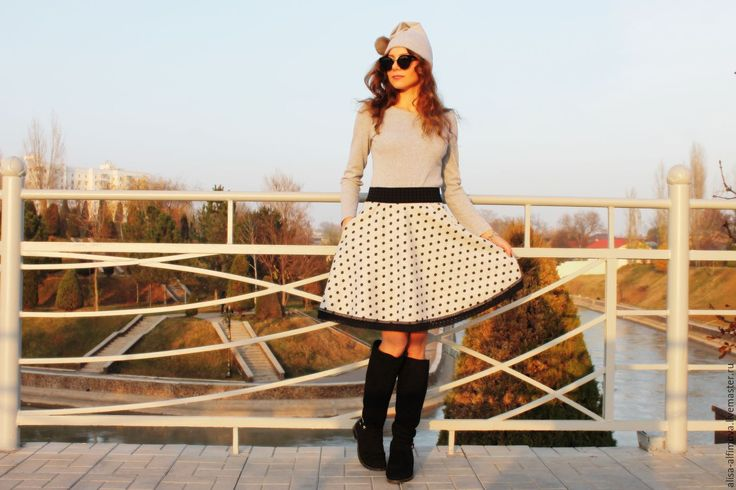 """Купить Теплая юбочка """"В горошек"""" с кружевом, эластичный пояс - серый, в горошек, теплая юбка"""
