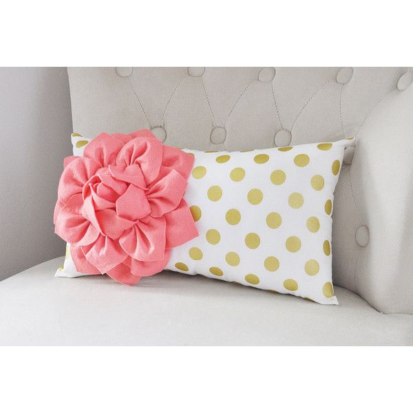 Coral Recliner Pillows Lumbar Pillow Gold Polka Dot Pillow Nursery... ($33) ❤ liked on Polyvore featuring home, home decor, throw pillows, decorative pillows, home & living, home décor, light pink, polka dot home decor, coral home accessories and white home decor