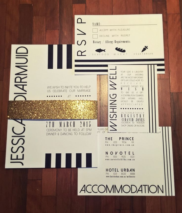 Black and white wedding invitation set with gold metallic belly band. Go to www.lovemytype.com.au