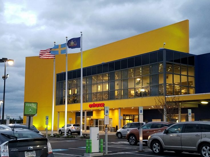 The front entrance of the Ikea Home Furnishings store at the Columbus Commons shopping center along Columbus Blvd. in South Philadelphia. It sports three flags: United States, Sweden, and Pennsylvania.