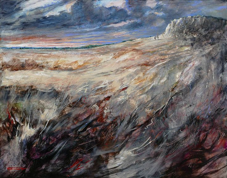 """""""Le Crépuscule des Errants""""  Marcel Nino Pajot  -Technique mixte sur toile  (114 x 146 cm)"""
