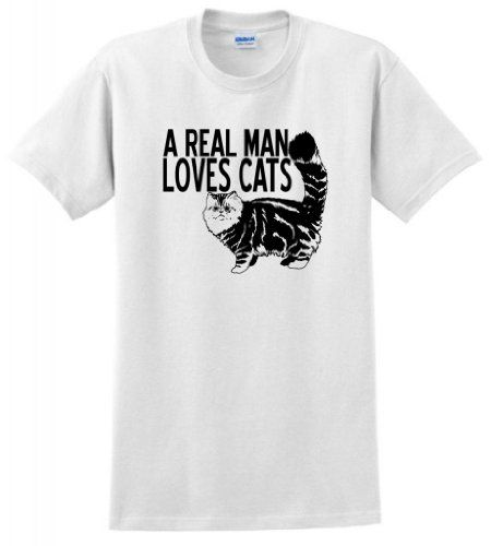 A Real Man Loves Cats. Men out there, yes? #tee #menswear #fashion #apparel #blackcat #kitty $16