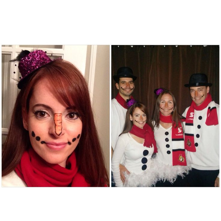 Snowman snowoman face makeup Halloween costume #nailedit