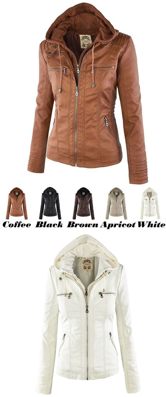 Lederjacke Mode Herbst Winter Kunstleder abnehmbare gefälschte zweiteilige Kapuze Reißverschluss Jacken Mantel Lederbekleidung for big sale! #jacken #Mantel