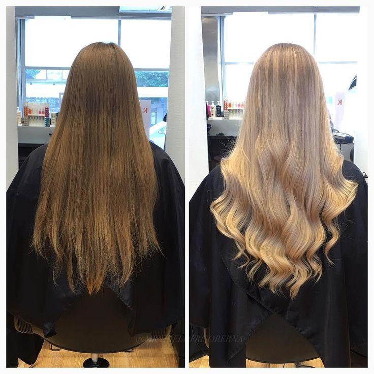 Vilken skillnad!! Vi avfärgar, slingar och nyanserar hela håret i omgångar för att få det så ljust som möjligt, allt med olaplex för minsta slitage och ökad styrka och hållbarhet på håret! ☺️ #olaplex #olaplexsweden #kerastase