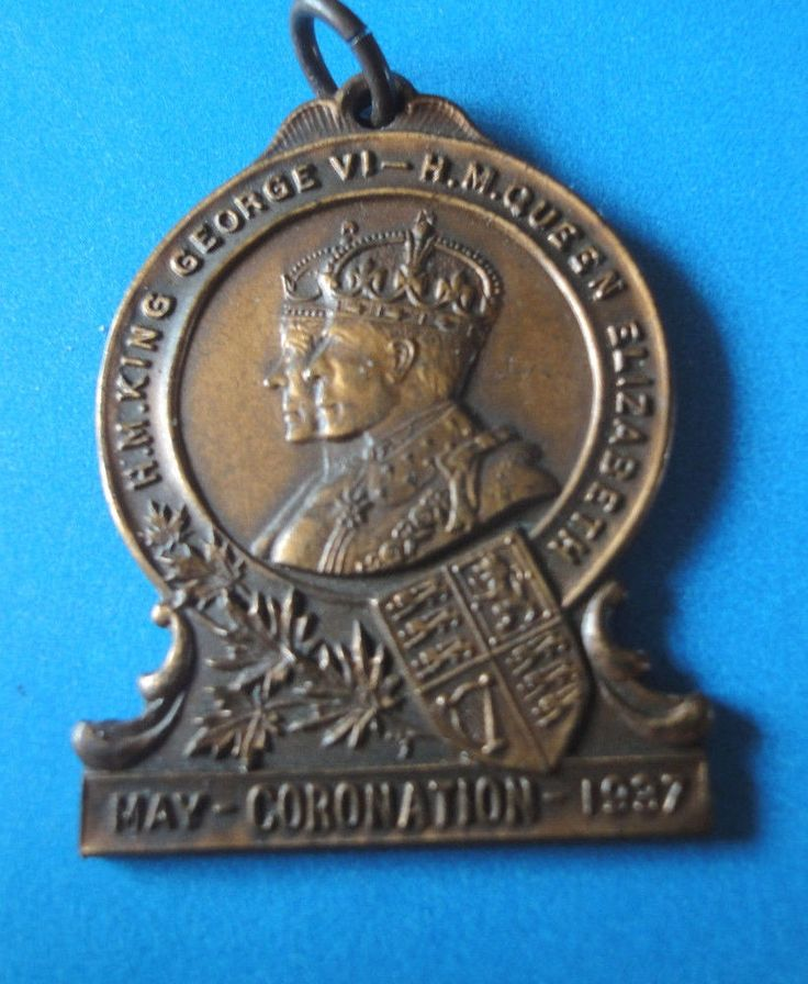 King George V1 -H.M Queen Elizabeth,  May 1937 Coronation Medal /Fob