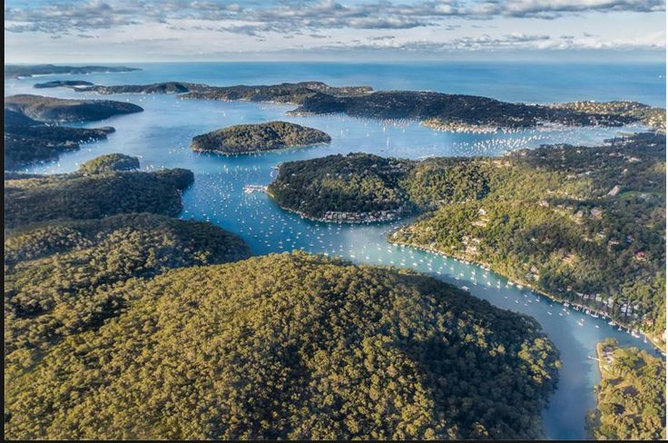 aerial view of my island in pittwater NSW Australia