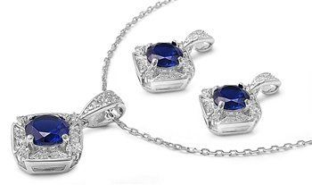Sterling Silver Squared Pendant Necklace and Earrings Jewelry Set with Blue Sapphire and Clear CZ AMEX Jewelry. $79.99. High Polished Sterling Silver. Earrings Height: 13 mm (0.54 inch). Pendant Height: 13 mm (0.54inch). Save 20% Off!