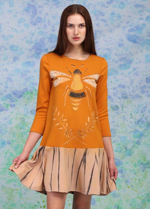 Bee Dress Orange Dress Festive Dress Women Printed Dress