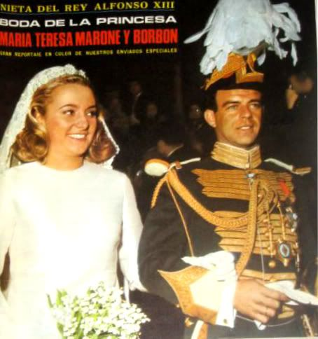 Maria Theresa Marone-Cinzano (b. 4 Jan. 1945), 3rd child of Infanta Maria Cristina of Spain.  Maria Theresa is shown here with her groom Jose Maria Ruiz de Arana y Montalvo who had a bunch of titles including Duke of Baena, Marquis of Brenes, and Count of Seville.  They wed 22 April 1967 and had 3 daughters, Maria Cristina, Isabel, and Ines.  The couple divorced in 1989.
