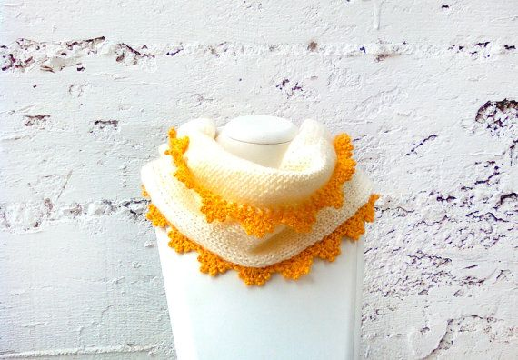 Handknit  yellow cowl scarf Cowl scarf Knit scarf by GuruMIme