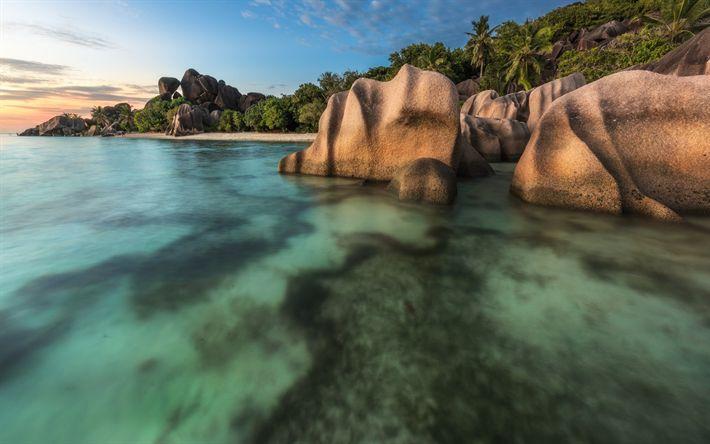 Lataa kuva Seychellit, sunset, kiviä, ranta, Intian Valtameren, matka, loma, trooppisia saaria, palmuja