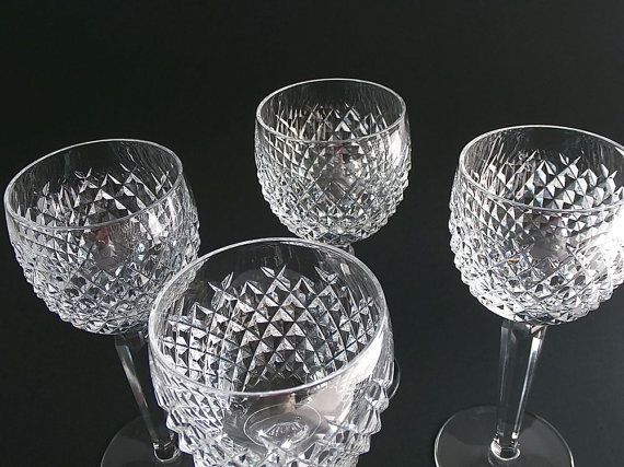 vintage waterford crystal wine glasses alana pattern wine hocks - Waterford Crystal Wine Glasses