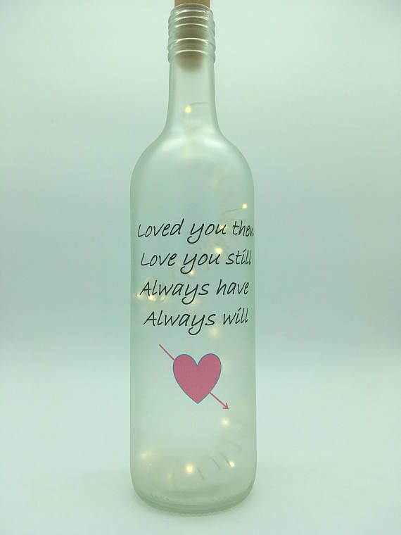 Personalised Light Up Bottle Gift Quote..You Are The Glow That Lights Up My Life
