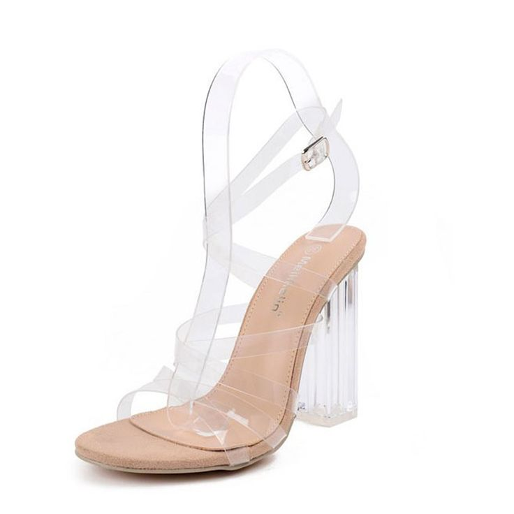 New Arrival Summer Sexy Women Block High Heel Pumps Gladiator Roman Sandals Clear Transparent Cross Strap Strappy Sandals Shoes