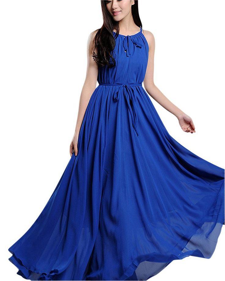 SaiDeng Donna Boemia Vestito Colore Puro Dalla Spiaggia Abito Blu Zaffiro: Amazon.it: Abbigliamento