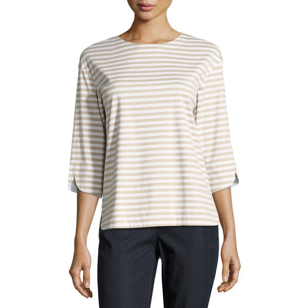 Lafayette 148 New York 3/4-Sleeve Striped Jersey Tee ($248) ❤ liked on Polyvore featuring tops, t-shirts, khaki multi, open back t shirt, zipper t shirt, 3/4 sleeve tee, jersey tee and curved hem t shirt