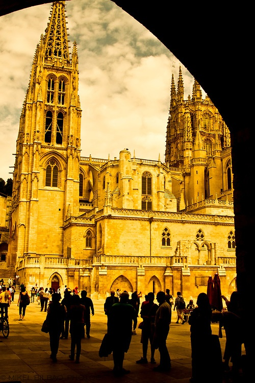 Cathedral view. Burgos city.  Castile and Leon, Spain.