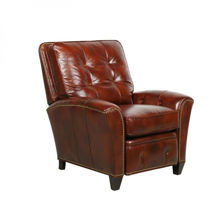 Elegant Barcalounger Sergio II Art Burl Push Through the Arm Recliner Lovely - Contemporary Accent Chair with Brown Leather sofa New