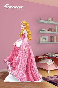 Disney Princess | A Fathead Stand Out stands on its own and is incredibly durable. The built in supports snap into place to get your Stand Out up quickly and fold away for easy transportation. SHOP http://www.fathead.com/disney/princesses/life-size-aurora-stand-out-cut-out/ | Girls DIY Bedroom Decor | Princess Home Decor | Sleeping Beauty | Disney Decor