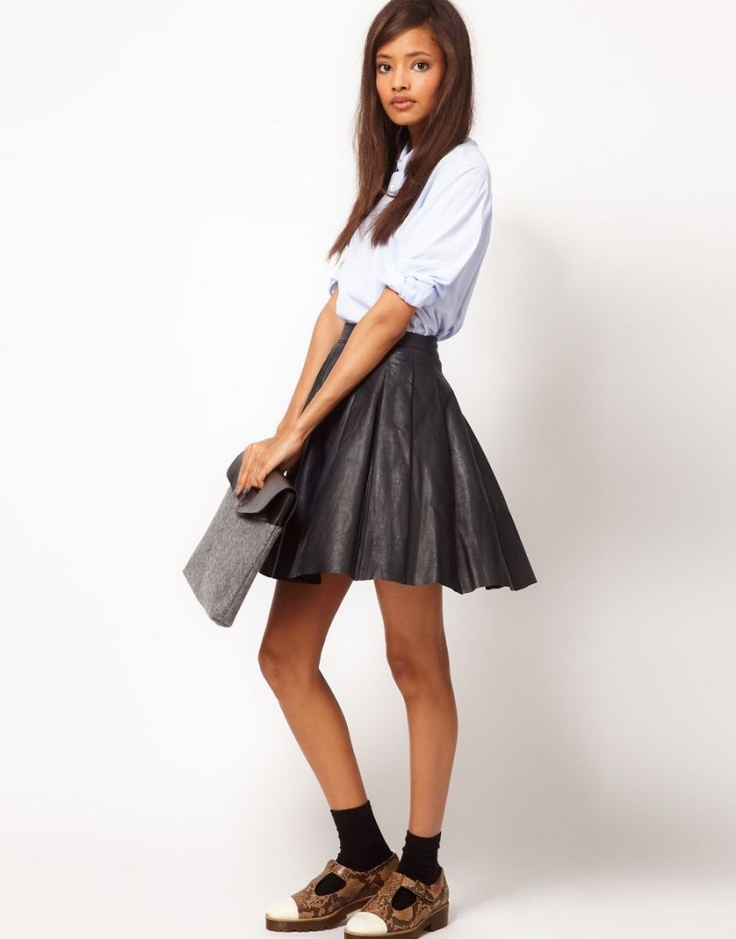 Asos Black Leather Skater Skirt  http://www.whatwilliweartoday.ie/2012/09/wednesday-fashion-news-guest-post-this-aw-ill-be-mostly-leathered/  #leather #leatherskirt #a/w #leathertrousers #wwiwt #leathertrend