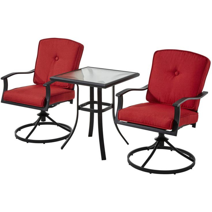 Patio Bistro Set 3 Piece Red Cushion Chair Tempered Glass Table Top Deck Outdoor #Mainstays