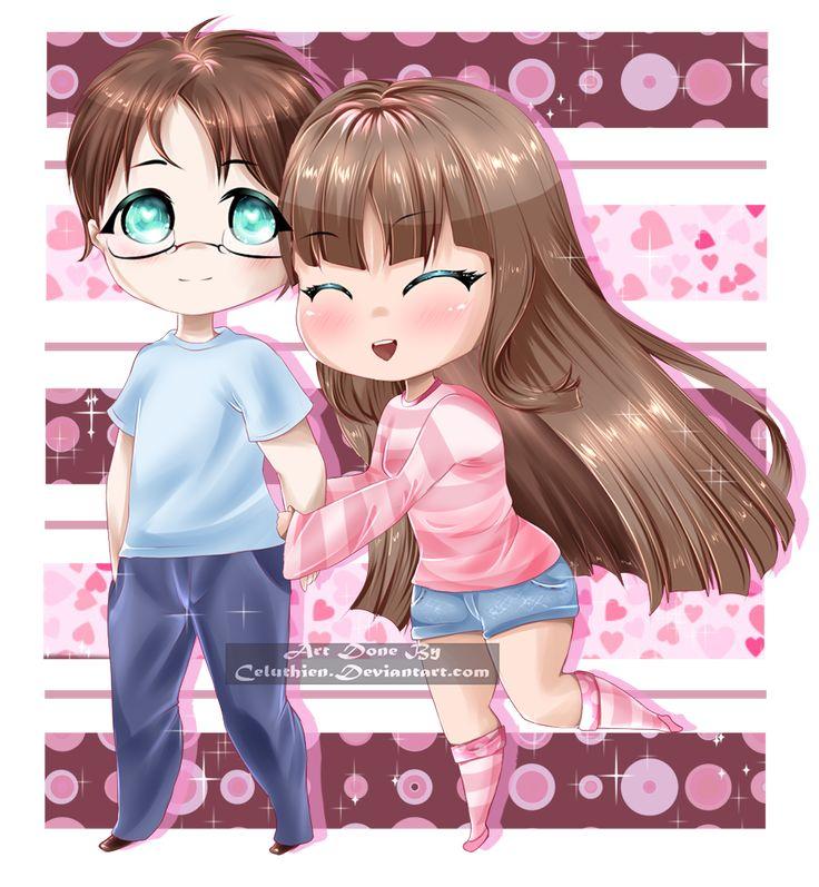 My part of our art trade with #yukipengin on #DeviantArt #chibi #chibiboy #chibigirl #couple #cute #hugging #kawaii