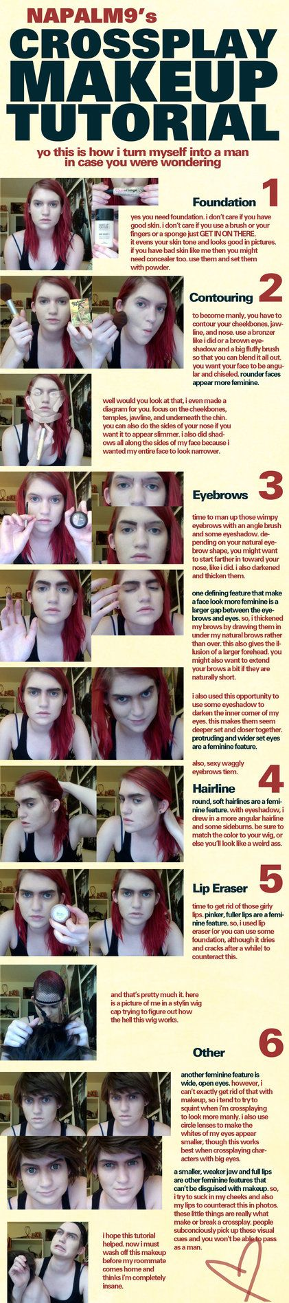 'Crossplay' Makeup Tutorial—for manly disguises... @Madeleine B Elizabeth