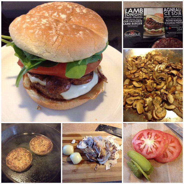 Lamb Burger with Mozzarella, Caramelized Mushroom & Onions. Tomato, Baby Spinach, Pickles & Basil Pesto