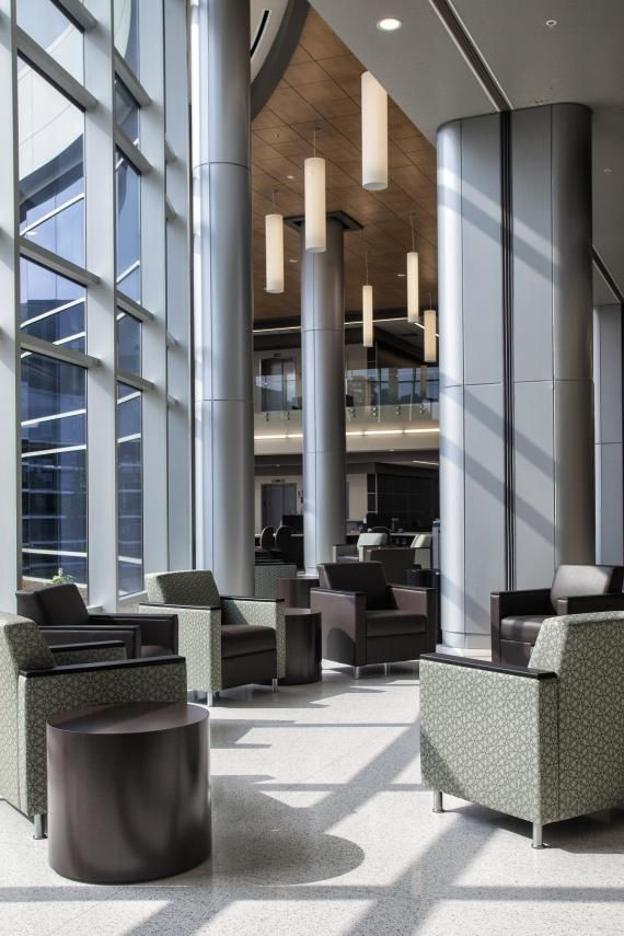 Floor-to-ceiling Windows In The Main Lobby Give Way To An