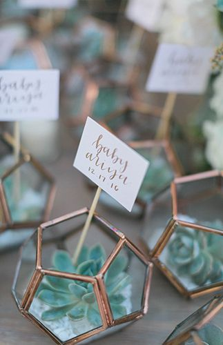 Present your guests with modern party favors at your wedding! Style name cards in these terrariums with succulents for trendy and stylish gifts.  http://www.lightsforalloccasions.com/p-7155-geometric-terrarium-industrial-candle-holder-clear-475-inch-gold.aspx
