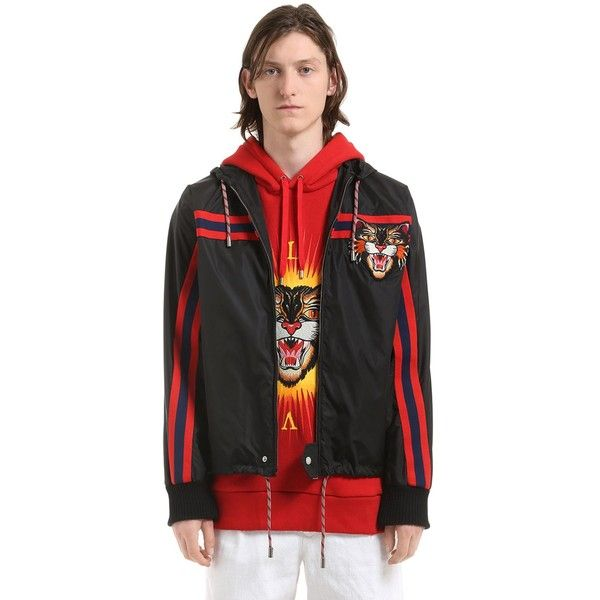 Gucci Men Cat Patch Nylon Wind Breaker Jacket ($1,165) ❤ liked on Polyvore featuring men's fashion, men's clothing, black, men's apparel, gucci mens clothing and mens clothing
