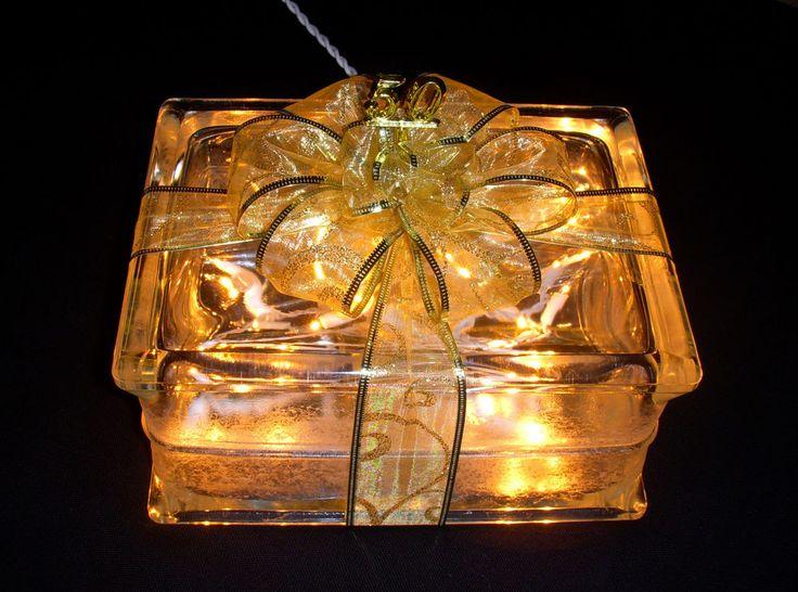 Unusual Golden Wedding Anniversary Gift Ideas: 50th Golden Wedding Anniversary Glass Block Light Lamp
