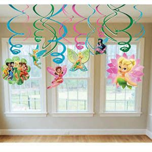 Decorate your birthday party in your favorite Tinkerbell colors with these swirl decorations that hang from the ceiling. Each metallic swirl comes in green and purple and has cutouts of Tinkerbell and