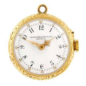 An open face fob watch by Patek Philippe with brooch pin. Estimate GBP: £500 - £700