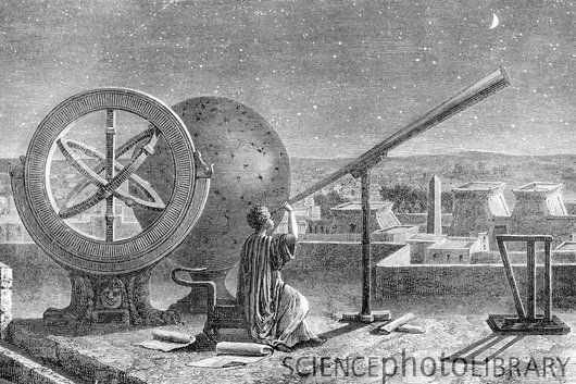 Hipparchus (c.190-c.120 BC), Ancient Greek astronomer, at the Alexandria Observatory, Egypt. At left is the armillary sphere he invented. Hipparchus is considered one of the greatest astronomers of antiquity. He calculated the length of the year and discovered the precession of the equinoxes. It is thought that the later work of Ptolemy was based on the work done by Hipparchus.
