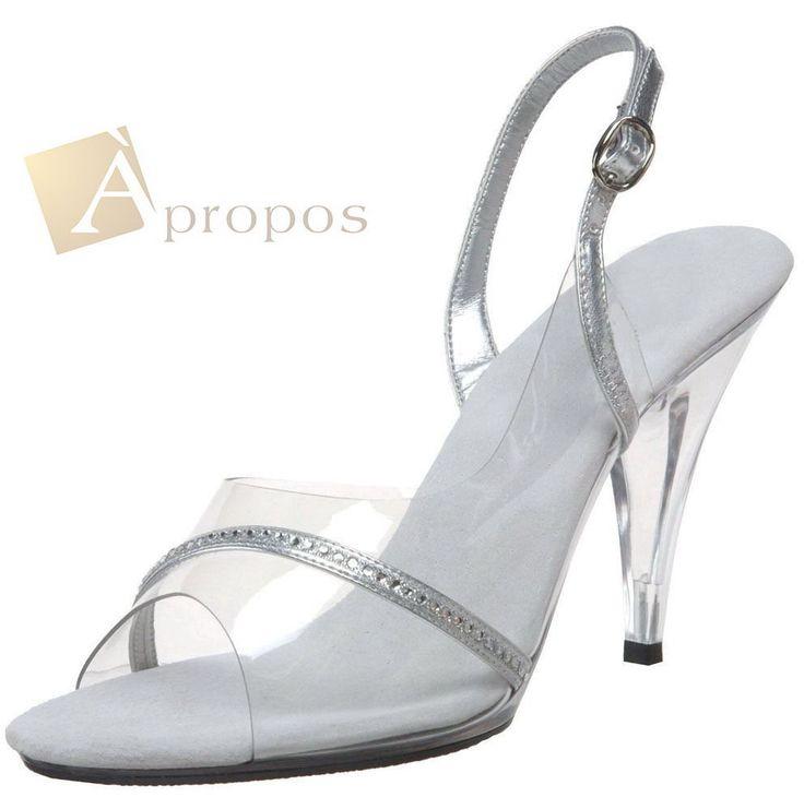 Sandale High Heel Pumps 10cm Strass Transparent Abendschuhe Silber Klar Acryl