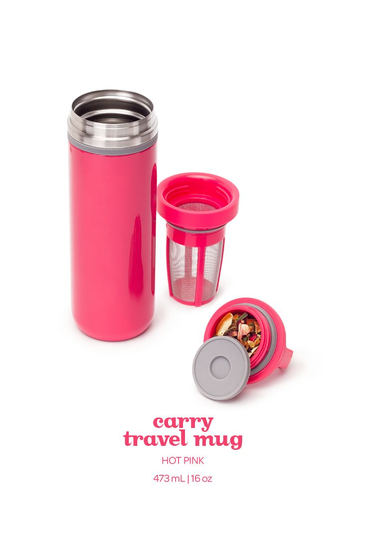 Make a statement with this leakproof travel mug in stunning hot pink.
