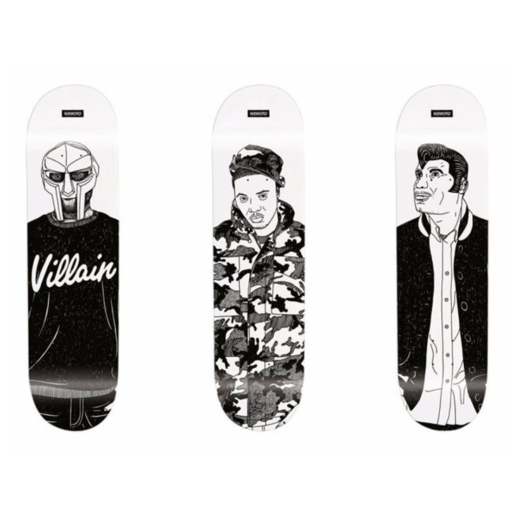 Cartoonish skate decks that capture the style of hip-hop icons Kool Keith, Nas and MF Doom