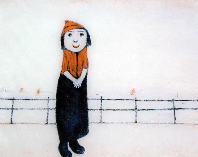 Girl in a Red Hat on a Promenade, England, United Kingdom, 1966, by L S Lowry