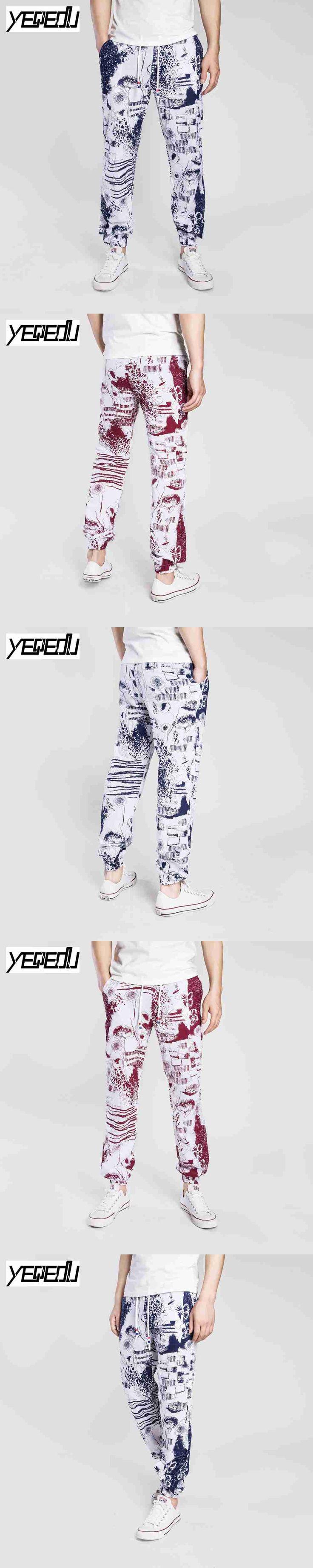 #1550 Hip hop pants Vintage Fashion Tie dye Printed trousers Joggers Loose Elastic waist Linen pants men Pantalones hombre