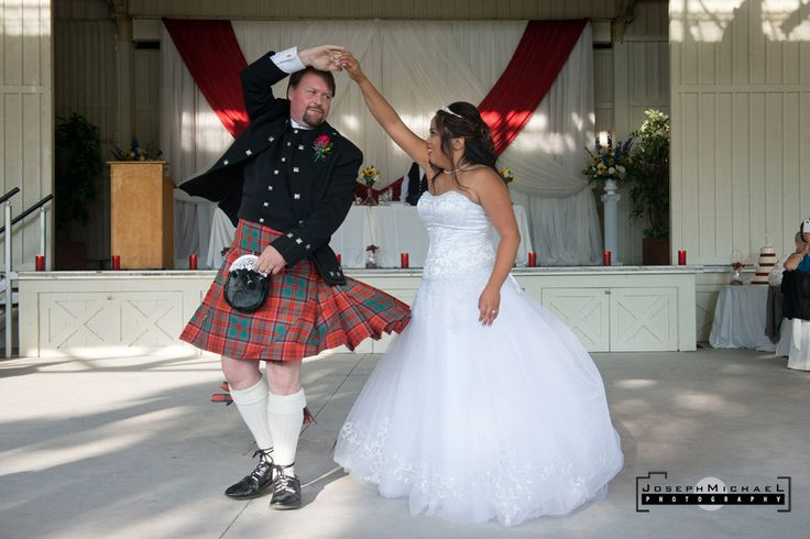 Bride and groom had a long choreographed dance that was pretty impressive.  Groom had a kilt on and it twirled nicely when he spun which was fantastic for photos. Photo taken at Black Creek Pioneer Village in Toronto.